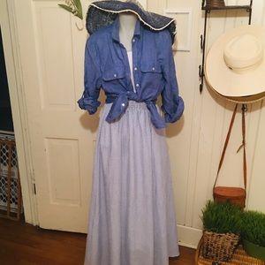Agnes & Dora Woven Ball Skirt -S Blue seersucker